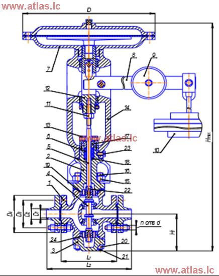 Рисунок 1 – Регулятор давления исполнения «НО» способа действия «после себя»