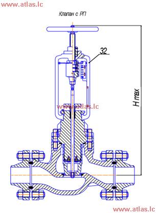 Рисунок 2 - клапан односедельный регулирующий с РП